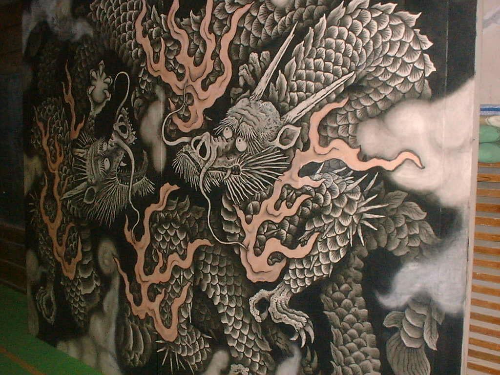 小泉淳作の「双龍図」/Dragon